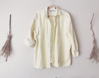 Pastel Yellow Lemonade Corduroy Button Up Over Shirt