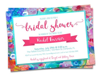 Bridal Shower Invitation Watercolor, Bright Floral Bridal Shower, Bright Bridal Shower Invitation, Printable Floral Bridal Shower Invitation