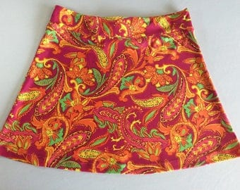 Pink and Orange Paisley  Activewear/Officewear Skirt made from Stretchy Fabric with Adjustable Tie Comfortable A-Line Cut Skims over Hips
