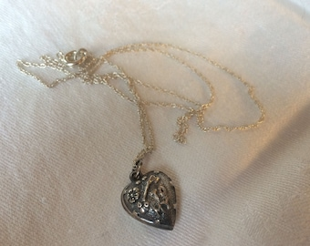 "Puffy Heart Necklace, Sterling, ""Key to my Heart"""