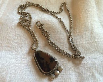 Brown, Black and Rust Agate Pendant in Silver-Tone Setting on Silver Chain