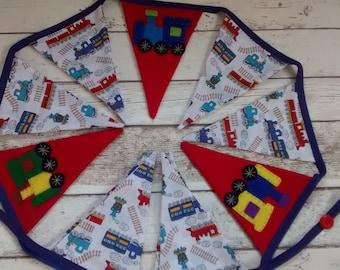 Train bunting, children's bunting, personalised bunting, themed bunting, bedroom bunting, playroom bunting, birthday gift, hand made