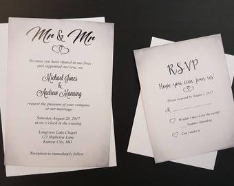 mr mr wedding invitation two grooms gay couple wedding invite same sex marriage - Same Sex Wedding Invitations