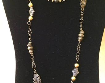 Antique Brass and Bead Necklace