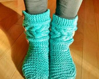 Women's slippers, Bootie, handknit