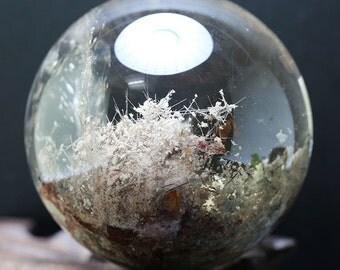 """2.87""""Rare Large Clear Rutilated and Phantom Quartz Sphere/ Rutilated sphere/ Rutilated Crystal Ball/ Rutilated Quartz-73mm 527g"""