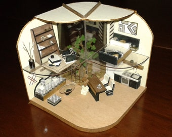 """Scale dolls house miniatures roombox 1:48 """"modern"""""""