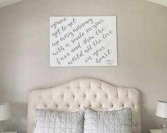 You've got to get up every morning   canvas   bedroom decor   over bed sign   sign for over headboard   calligraphy   hand lettered sign