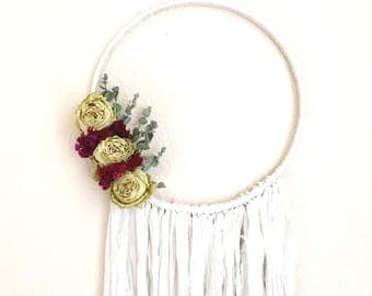 Enchanting Wall Hanging / Dried Flower Wall Hanging / Botanical Dream Catcher / Boho Wall Hanging / Vintage / Gifts for Her / V