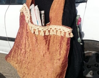 A viscose Tote bag,Large and Cozy,Decorated and Beautiful,For Every Day use,Gift,Bags,Market bag,Grocery bag,Magazine bag,Brown,Bags