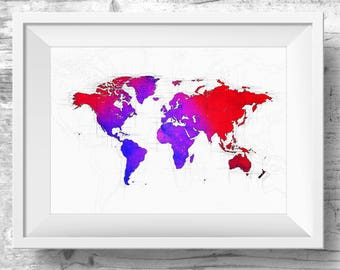 World Map Canvas, Colourful Watercolour Map World Map Artwork, World Map Art,  Wall Art, Printable Wall Art, Instant, Digital Download