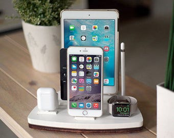 NytStnd FIVE White - FREE SHIPPING Charging Station Wireless iPhone 8 iPad Apple Watch Apple Tv Airpods Christmas Birthday Gift