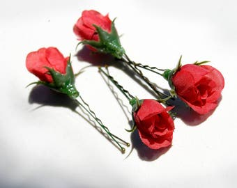 Four Red Rosebud Flower Hair Pins