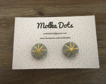 Grey Earrings. Gold Geometric Design. Handmade Earrings. Fabric Covered Button Earrings. Clip On Earrings. Stud Earrings.