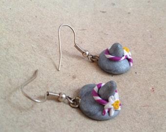 Earrings Tiroler Hat with Edelweiss purple
