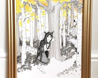 Wall art, art print, character art, black and white art, pen and ink, interior decor, illustration, line art, wolf art