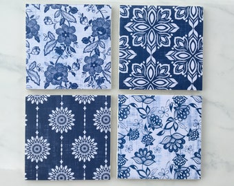 Coasters, Floral Coasters, Navy and White, Decorative Coasters, Set of 4 Coasters, Tile Coasters, Navy Coasters, Ceramic Coasters