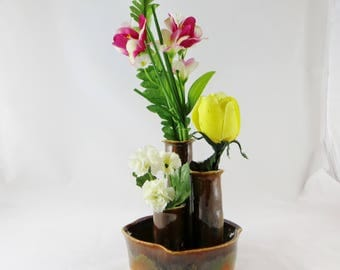 Pottery flower vase, ceramic flower vase, wildflower vase, fresh flower vase