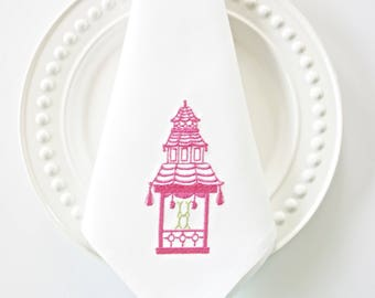 Pagoda Monogram III Embroidered Towel and Napkins, wedding or hostess gift, kitchen and bath linens, bridal shower gift, kitchen towels