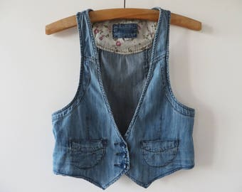 Women Denim Vest Fitted Denim Vest Denim Waistcoat Denim Jean Vest Western Style Vest Cowgirl Waistcoat Winter Finds Medium Size Vest