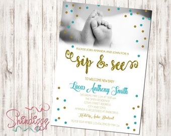 Sip and See Invitation, Baby Shower Invitation, Sip & See, Meet and Greet, Blue and Gold, Newborn Invitation, Sip and See Boy Invite