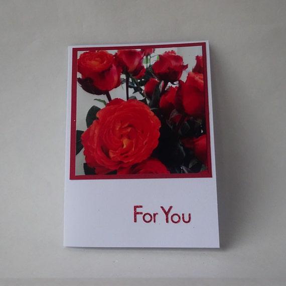 Love Card - Handmade Photo Card with Rose - #544