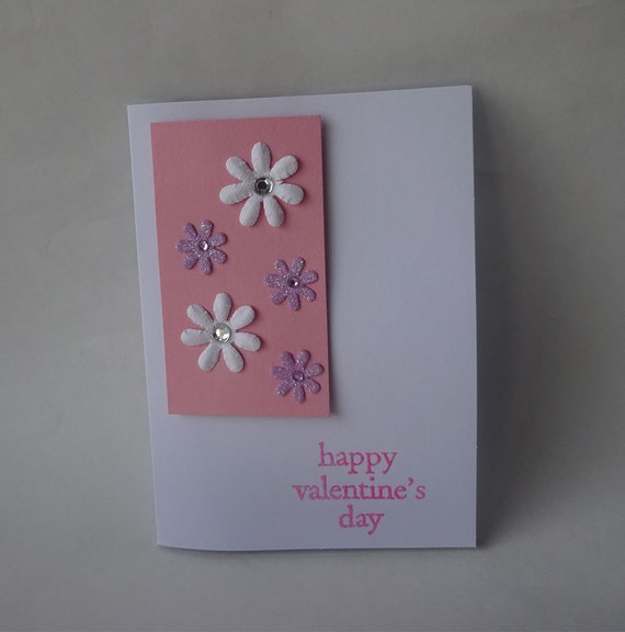 Sale! Valentine's Card - Handmade Card with Flowers - H2