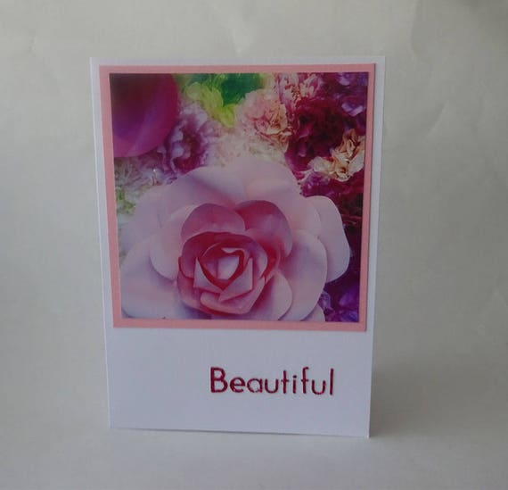 "Mother's Day Card with Pink Rose and Flowers with the word ""Beautiful"" - #413"