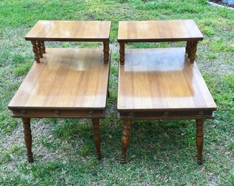 Two Tier Table,side table, Mid-Century Modern, Wood frame, Formica Top, End Tables, Price is for both,