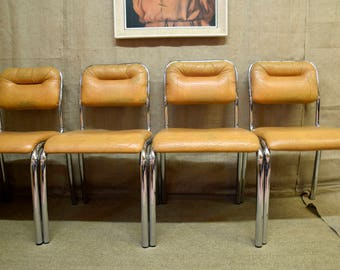Set of 4 tan leather & chrome vintage/retro dining chairs, mid century modern, very good quality