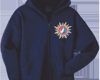 Grateful Dead Hoodie- Sunshine Lightning/ 13 point lightning bolt in the sun/ Heavyweight Zip Hoodie