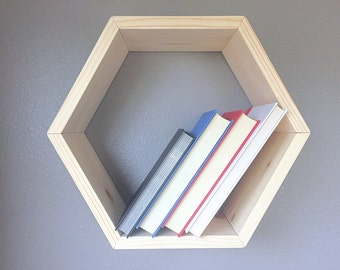 Hexagon Shelf, Wooden Floating Shelves, Geometric Shelves, Honeycomb Cubby Shelf, Book Shelf, Home Decor Display