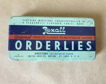 Vintage Orderlies Tin // Medication Tin Rexall Chocolate Flavored Phenolphthalein Laxative