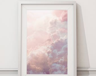 Pink Clouds print / Pink cloud poster / pink dreamy sky photography / Nube rosa / Nuage rose / sky art print  / Pink sky art  / Cloud art