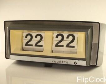 Huge, vintage 60s Vedette French wall - flip clock