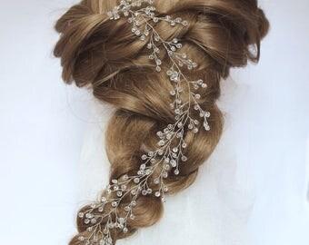 Long Hair Vine bridal Crystal wreath crystal twigs bridal headband wedding vine headpiece Crystal garland jewelry crown bohemian Diadem