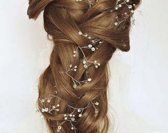 Bridal crystal wreath crystal twigs bridal headband wedding vine crystal garland headpiece baby breath wedding hair vine for long hair