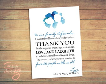 Blue water color silhouette wedding invitation