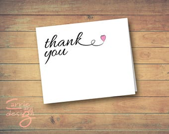 DIY Thank You Cards Printable. Instant Download, Wedding, Bridal Shower or Business 3.5x5