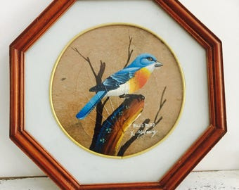 Vintage Pair original Painting Birds Octagon frames
