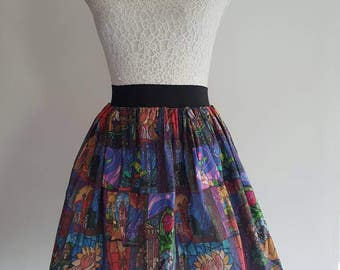 Adult Stained Glass Beauty and the Beast Inspired Full Skater Skirt