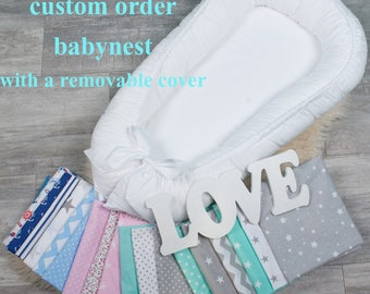 Colour your babynest with a removable cover, custom order baby nest, baby nest bed, co sleeper