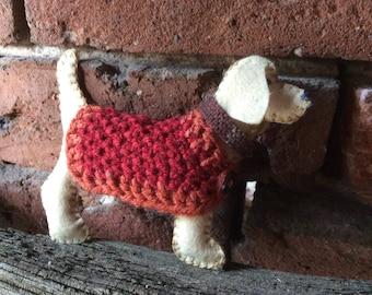 Felt Beagle Dog filled with Natural Sheep Wool all handmade
