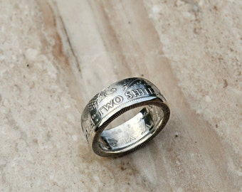 1946 Silver Two Shillings Coin Ring