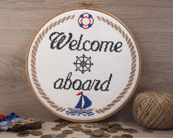 Welcome aboard cross stitch pattern Nautical decor nursery Baby boy nursery Welcome cross stitch Nautical nursery art Nautical baby gift