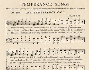1908 Temperance Day Pamphlet, Historic Ephemera Song Book, Prohibition History