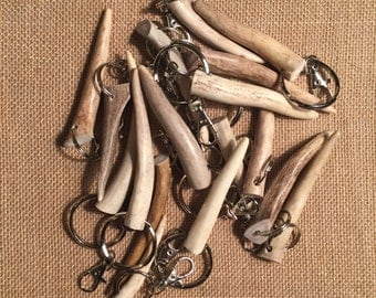 Naturally shed antler keychain
