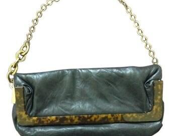 LANVIN Nuage PM Lambskin Medium Bag with Tortoise/Lucite Accent
