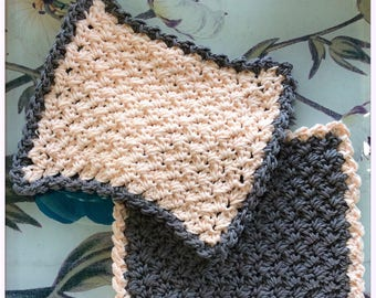 The Lux Washcloth set of two modern hand-made cotton cloths, may be used as dishcloths,face loths,and spa cloths UrbanWoodenAnd Wooly.