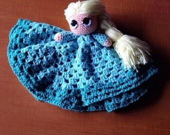 Crochet Elsa Lovey, Elsa Security Blanket, Crochet Elsa Doll